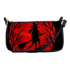Halloween witch - red moon Shoulder Clutch Bags