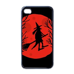 Halloween witch - red moon Apple iPhone 4 Case (Black)
