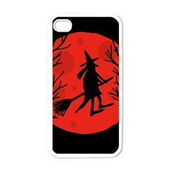 Halloween witch - red moon Apple iPhone 4 Case (White)