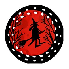 Halloween witch - red moon Round Filigree Ornament (2Side)