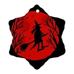 Halloween witch - red moon Snowflake Ornament (2-Side)