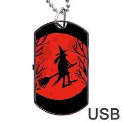 Halloween witch - red moon Dog Tag USB Flash (Two Sides)