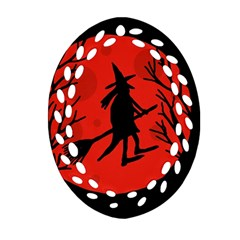 Halloween witch - red moon Ornament (Oval Filigree)