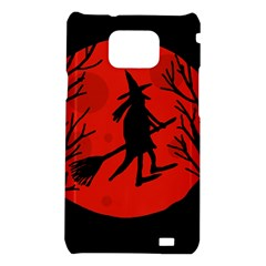 Halloween witch - red moon Samsung Galaxy S2 i9100 Hardshell Case