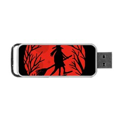 Halloween witch - red moon Portable USB Flash (One Side)