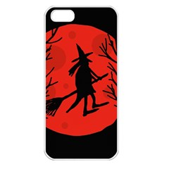 Halloween witch - red moon Apple iPhone 5 Seamless Case (White)