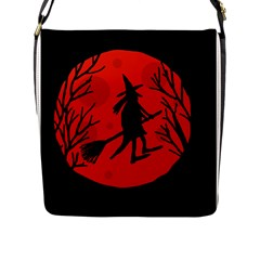 Halloween witch - red moon Flap Messenger Bag (L)