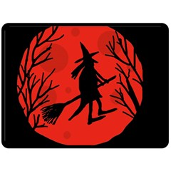 Halloween witch - red moon Double Sided Fleece Blanket (Large)