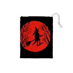 Halloween witch - red moon Drawstring Pouches (Small)