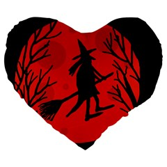 Halloween witch - red moon Large 19  Premium Flano Heart Shape Cushions