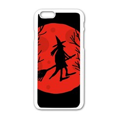 Halloween witch - red moon Apple iPhone 6/6S White Enamel Case