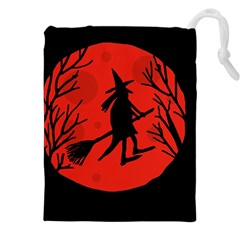 Halloween witch - red moon Drawstring Pouches (XXL)