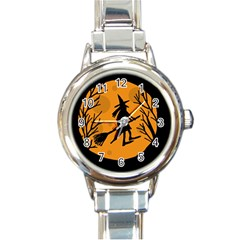 Halloween witch - orange moon Round Italian Charm Watch