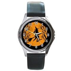 Halloween witch - orange moon Round Metal Watch