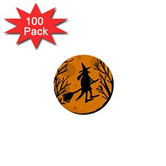Halloween witch - orange moon 1  Mini Buttons (100 pack)