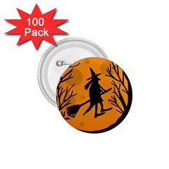 Halloween witch - orange moon 1.75  Buttons (100 pack)
