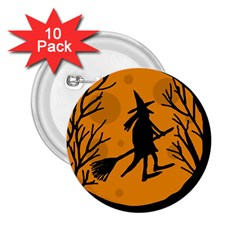 Halloween witch - orange moon 2.25  Buttons (10 pack)
