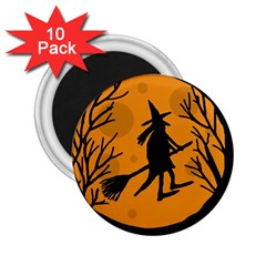 Halloween witch - orange moon 2.25  Magnets (10 pack)