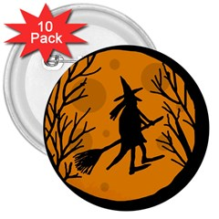 Halloween witch - orange moon 3  Buttons (10 pack)