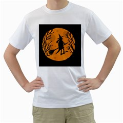 Halloween witch - orange moon Men s T-Shirt (White) (Two Sided)