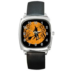 Halloween witch - orange moon Square Metal Watch