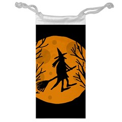 Halloween witch - orange moon Jewelry Bags