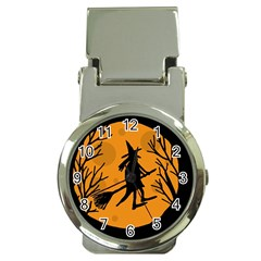 Halloween witch - orange moon Money Clip Watches
