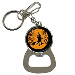 Halloween witch - orange moon Bottle Opener Key Chains