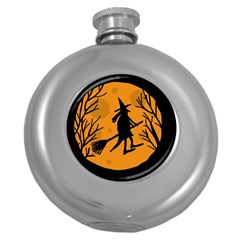 Halloween witch - orange moon Round Hip Flask (5 oz)