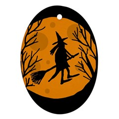 Halloween witch - orange moon Oval Ornament (Two Sides)