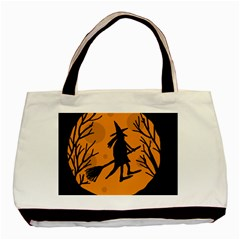 Halloween witch - orange moon Basic Tote Bag (Two Sides)