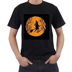 Halloween witch - orange moon Men s T-Shirt (Black)