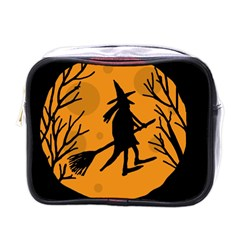 Halloween witch - orange moon Mini Toiletries Bags