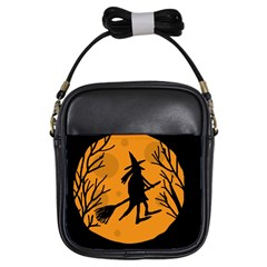Halloween witch - orange moon Girls Sling Bags