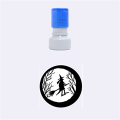 Halloween witch - orange moon Rubber Round Stamps (Small)