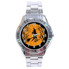 Halloween witch - orange moon Stainless Steel Analogue Watch