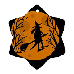 Halloween witch - orange moon Ornament (Snowflake)