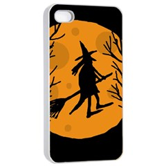 Halloween witch - orange moon Apple iPhone 4/4s Seamless Case (White)