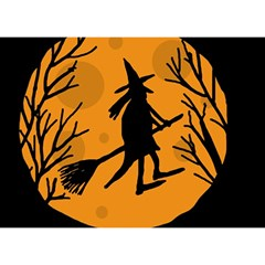 Halloween witch - orange moon Birthday Cake 3D Greeting Card (7x5)