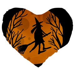 Halloween witch - orange moon Large 19  Premium Heart Shape Cushions
