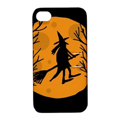 Halloween witch - orange moon Apple iPhone 4/4S Hardshell Case with Stand