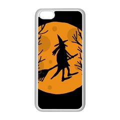 Halloween witch - orange moon Apple iPhone 5C Seamless Case (White)