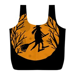 Halloween witch - orange moon Full Print Recycle Bags (L)