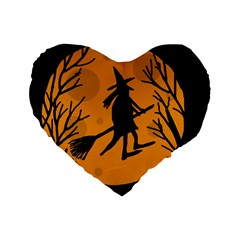 Halloween witch - orange moon Standard 16  Premium Flano Heart Shape Cushions