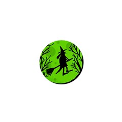 Halloween witch - green moon 1  Mini Magnets