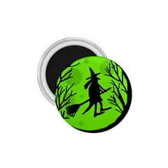 Halloween witch - green moon 1.75  Magnets