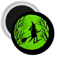 Halloween witch - green moon 3  Magnets