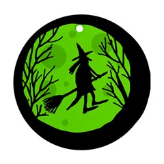 Halloween witch - green moon Ornament (Round)