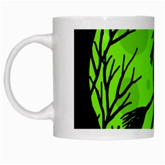 Halloween witch - green moon White Mugs