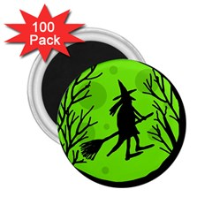 Halloween witch - green moon 2.25  Magnets (100 pack)